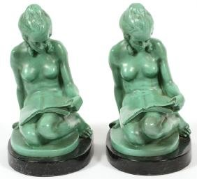 FEMALE NUDE BRONZE BOOK ENDS PAIR