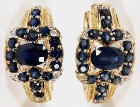 4CT SAPPHIRE AND 14KT GOLD DROP EARRINGS PAIR