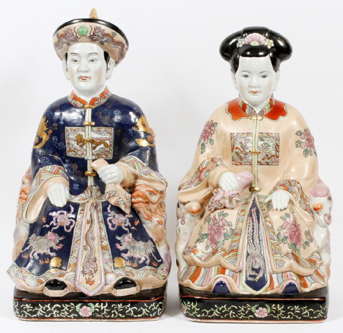 CHINESE PORCELAIN SEATED FIGURES 2 PIECES