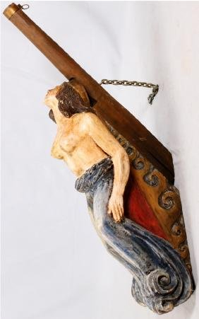 CARVED WOOD SHIP FIGUREHEAD 20TH C.