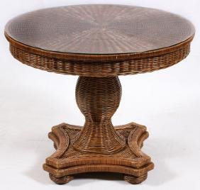 WICKER & GLASS TOP TABLE