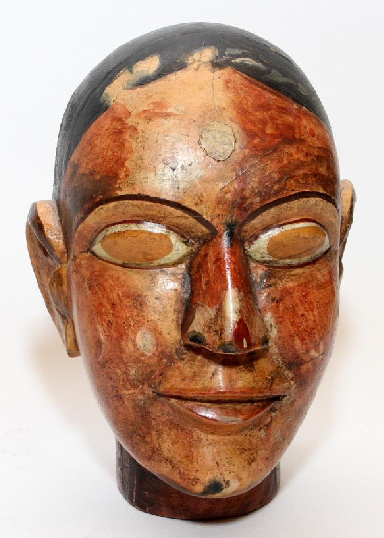 INDIAN POLYCHROME CARVED WOOD HEAD