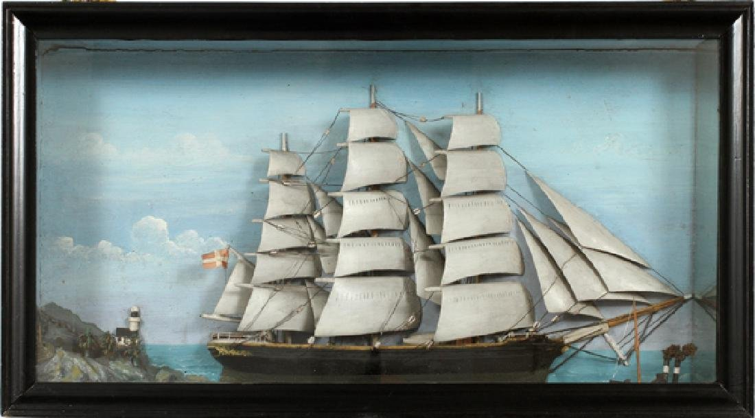 HALF SHIP MODEL IN SHADOWBOX 1881