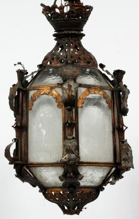 METAL AND GLASS LANTERN FORM CHANDELIER