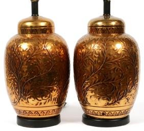 HAND HAMMERED BRASS TO COPPER TABLE LAMPS PAIR
