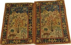 PERSIAN TABRIZ ANTIQUE PICTORIAL MATS TWO