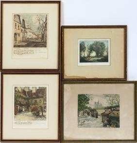 EUROPEAN COLOR ETCHINGS AND PRINT 4 PIECES