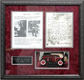 BONNIE & CLYDE FRAMED REPLICA LETTER AND CAR