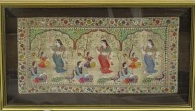 CHINESE SILK MAT FRAMED