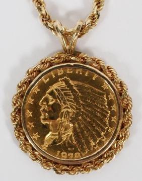 YELLOW GOLD PENDANT & CHAIN RARE $2.50 GOLD COIN