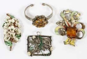 COSTUME JEWELRY PENDANTS BROOCH AND BRACELET C1900