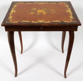 ITALIAN INLAID WOOD MUSIC BOX TABLE