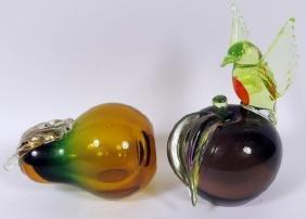 GROUP OF ART-GLASS FRUIT SCULPTURES 2 PIECES