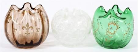VICTORIAN ENAMELED GLASS ROSE BOWLS CIRCA 1870