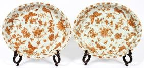 CHINESE EXPORT PORCELAIN PLATTERS 19TH C. TWO