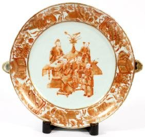 CHINESE EXPORT PORCELAIN WARMING DISH 19TH C.