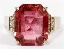 8CT PINK TOURMALINE AND DIAMOND RING