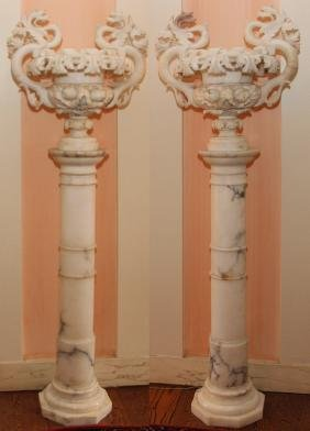 ITALIAN CARVED ALABASTER URNS AND MARBLE BASES PAIR