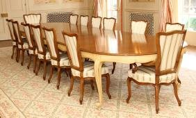 FRENCH PROVINCIAL STYLE WALNUT DINING TABLE &CHAIRS