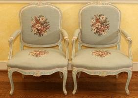 LOUIS XV STYLE UPHOLSTERED WALNUT OPEN ARMCHAIRS