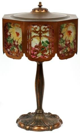PAIRPOINT REVERSE PAINTED TABLE LAMP LATE 19TH C.