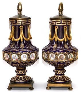 SEVRES PORCELAIN COVERED URNS 19TH CENTURY PAIR