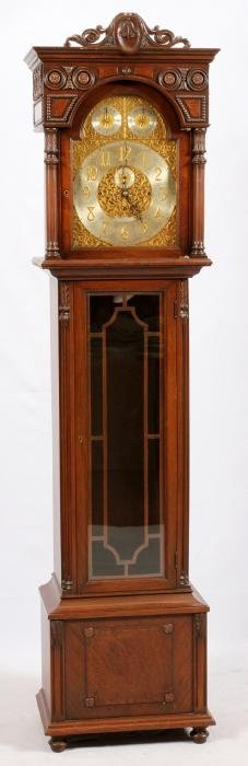 ENGLISH CARVED WALNUT GRANDFATHER CLOCK C. 1927