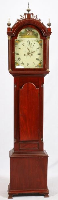 QUEEN ANNE MAHOGANY TALL CASE CLOCK