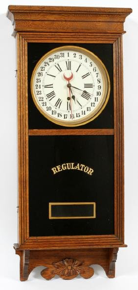 WATERBURY CALENDAR WALL REGULATOR CLOCK CIRCA 1910