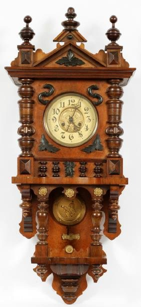 GUSTAV BECKER CARVED WALL CLOCK EARLY 20TH C.