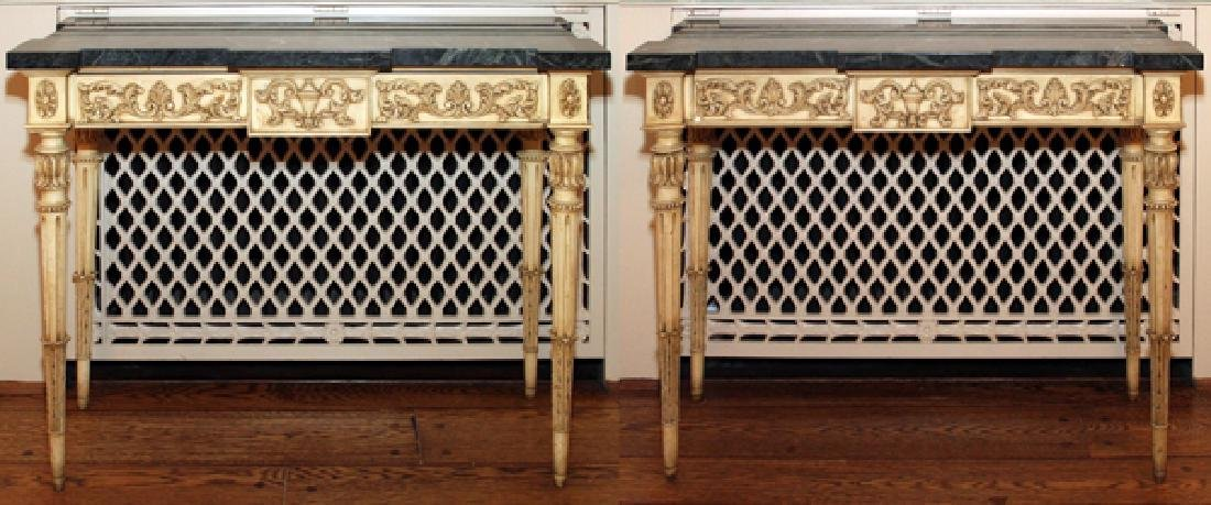 KARGES GREEN MARBLE TOP CONSOLES PAIR