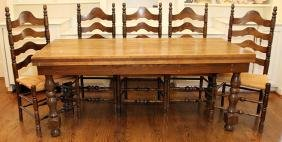 OAK DINING TABLE AND LADDER-BACK DINING CHAIRS SIX