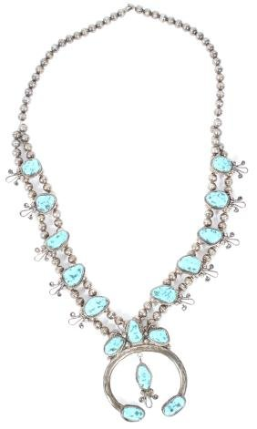 NAVAJO SQUASH BLOSSOM SILVER & TURQUOISE NECKLACE
