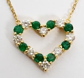 1CT EMERALD AND DIAMOND HEART PENDANT NECKLACE