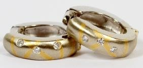 BRUSHED 18KT GOLD AND DIAMOND HOOP EARRINGS PAIR