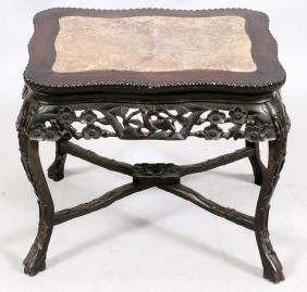 CHINESE CARVED WOOD AND MARBLE TABLE 19TH C.