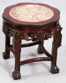 CHINESE CARVED WOOD AND MARBLE STAND 19TH C.