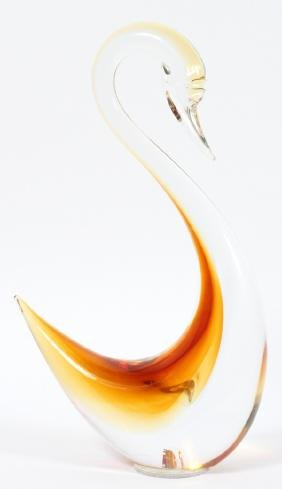 MURANO CLEAR AND AMBER GLASS SWAN