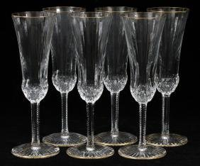 ST. LOUIS 'APOLLO GOLD' CRYSTAL CHAMPAGNES SIX