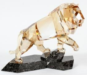 SWAROVSKI CRYSTAL FIGURE OF LION GOLDEN SHADOW