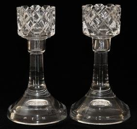 ORREFORS CRYSTAL CANDLESTICK HOLDERS PAIR