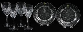 WATERFORD CRYSTAL GOBLETS & PLATES 6PCS.
