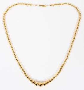 14KT YELLOW GOLD GRADUATED BEAD NECKLACE