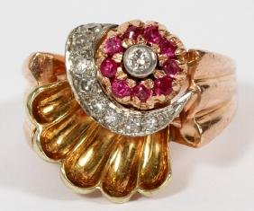 DIAMOND RUBY AND 14KT YELLOW GOLD COCKTAIL RING