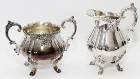 WALLACE BAROQUE SILVER PLATE CREAMER AND SUGAR