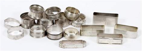 STERLING AND SILVER PLATE NAPKIN RINGS 17 PIECES