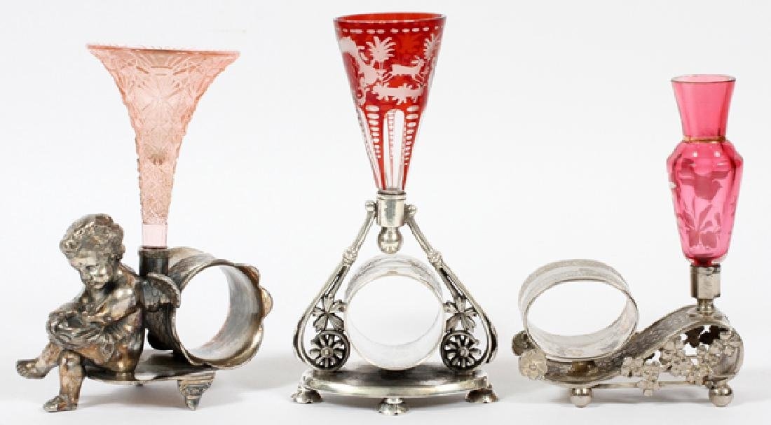 VICTORIAN SILVER PLATE NAPKIN RING HOLDERS THREE