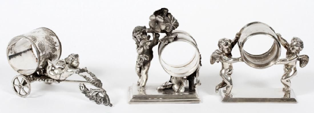 VICTORIAN SILVER PLATE FIGURAL NAPKIN RING HOLDERS