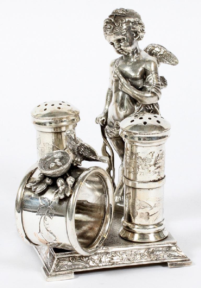 VICTORIAN SILVER PLATE FIGURAL NAPKIN RING HOLDER
