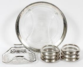 STERLING MOUNTED COASTERS CONDIMENT DISHES EIGHT